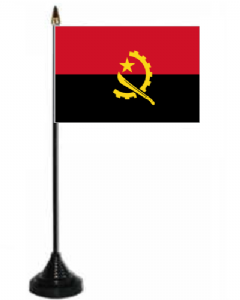 Angola Desk / Table Flag with plastic stand and base.